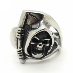 Punk Mens Fashion Jewelry Death Skull Ring Biker Stainless Steel Rings Wholesale Best Gift #Affiliate