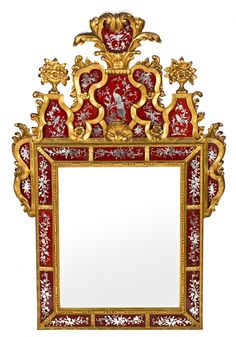 Eighteenth-century Venetian style mirror with wooden frame carved and gilded and etched mirrors. First third of the twentieth century - Dim: 151x101 cm.