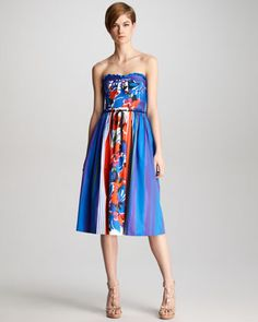 Floral-Print Bustier Dress by RED Valentino at Neiman Marcus.