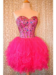 2016 Cheap Ball Gown Sweetheart Beaded Tulle Hot Pink Short Prom Dresses Gowns, Formal Evening Dresses Gowns, Homecoming Graduation Cocktail Party Dresses,Custom Plus size