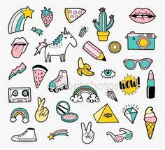 Descargar - Conjunto de insignias de parche de moda — Ilustración de Stock #146662753