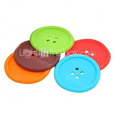 [GBP £ 1.78] Button Design Thick Felted Cup Coaster A HLI-83938(Random Color)