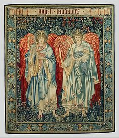 Sir Edward Burne-Jones (British, 1833–1898) (figures). Angeli Laudantes, 1898. Designer: John Henry Dearle (British, 1860–1932) (background, frame). British, Merton Abbey. The Metropolitan Museum of Art, New York. Rogers Fund, 2008 (2008.8a–c) #tapestrytuesday