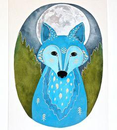 Moon Wolf Painting - Watercolor Illustration Art - Archival Print - 8x10 Lunar Wolf Xavier via Etsy