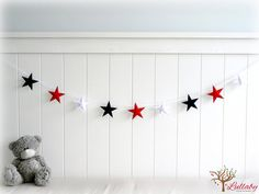 Star garland - felt star banner - You pick your colors - Navy blue, red and white - Nautical - Nursery decor on Etsy, $40.34 AUD