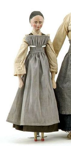 Lovely gray overdress/pinafore. Grodnertal Doll, mid 19th century,
