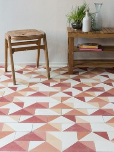 Interior Designer Sophie Robinson chooses favourite encaustic cement tiles Smink Things geometric orange Best Picture For Cement For Your Taste You are looking for something, and it is going to tell y Cement Tiles Bathroom, Kitchen Tiles, Mosaic Tiles, Wall Tiles, Espace Design, Tiled Hallway, Geometric Tiles, Encaustic Tile, Banquette