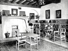 "Voysey, ""Garden Corner,"" Chelsea, The Library. Baillie-Scott's ""On the Characteristics of Mr. C. F. A. Voysey's Architecture"" The Studio (Oct 1907) [p. 24]. Source: The Studio via victorianweb.org"