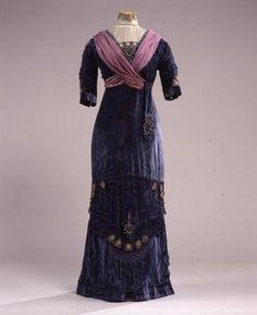 1910s mauve and violet blue embroidered dress, via Galleria del Costume di Palazzo Pitti.