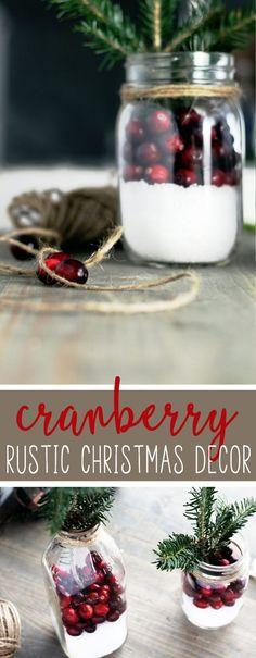 How to Make Cranberry Rustic Christmas Decor in 5 Minutes #rusticChristmasdecor #Christmasdecoration