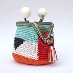 Monedero de cierre de boquilla, monedero tapestry crochet, monedero de ganchillo, monedero geométrico, regalo para mujer, estilo étnico chic