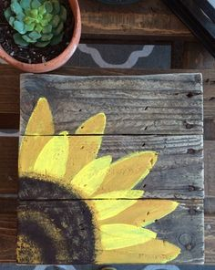 Wood Pallet Sign Hand Painted Sunflower pallet by BoardsOfBliss