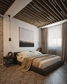 In the bedroom, parqueted wood flooring blends with painted brick, soft linens, and smooth surfaces to create a sleeping area that seems to transcend time with a bit of old and new.