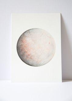 Watercolour Europa Print, Moon art, Space lunar art, moon painting, science…