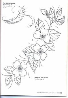 pattern for Bauernmalerei Embroidery Designs, Hand Embroidery Patterns, Vintage Embroidery, Ribbon Embroidery, Embroidery Stitches, Painting Patterns, Craft Patterns, Flower Patterns, Tole Painting
