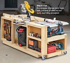 Garage workbench, woodworking shop, woodworking projects, workshop bench, g Diy Garage Work Bench, Diy Garage Storage, Diy Bench, Bench Vise, Storage Ideas, Lumber Storage, Tool Bench, Tool Storage, Wooden Work Bench