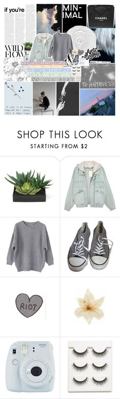 """""""❀ i hope the roof flies off and we get blown into outerspace"""" by friendly-fires ❤ liked on Polyvore featuring Chanel, Mon Cheri, Lux-Art Silks, Converse, Clips, Fuji and Pigeon & Poodle"""