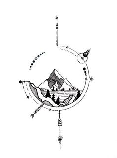 25 Ideas geometric nature tattoo mountain for 2019 Tattoo Design Drawings, Tattoo Sketches, Tattoo Designs Men, Tattoo Art, Art Sketches, Sketch Drawing, Henna Designs, Art Drawings, Disneyland