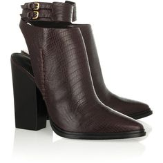 Alexander Wang Dasha lizard-effect leather ankle boots (£242) ❤ liked on Polyvore featuring shoes, boots, ankle booties, ankle boots, alexander wang, heels, brown, brown booties, heeled booties and high heel booties