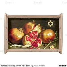 "Jewish New Year | Rosh Hashanah Fine Art Gift Serving Tray. ""Pomegranates"", Oil Painting, 17th century. Artist: Antonio Ponce. This is a great gift for Rosh Hashanah! While not actually serving the Rosh Hashanah, this tray will fill your dining room or living room with a festive atmosphere. Matching cards, postage stamps and other products available in the oldandclassic store at zazzle.com"