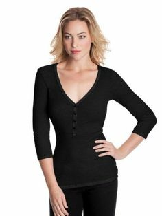 Have this one GUESS Women`s Sophia Three-Quarter Sleeve Henley black
