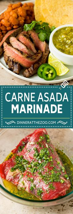This carne asada marinade is a zesty blend of citrus, olive oil, fresh herbs and jalapeno, all combined to add plenty of flavor to steak. Cook your carne asada on the grill, then serve the meat thinly sliced in tacos, burritos or alongside rice and beans. Veggie Recipes, Lunch Recipes, Mexican Food Recipes, Easy Recipes, Beef Steak Recipes, Ground Beef Recipes, Savoury Dishes, Food Dishes, Carne Asada Marinade