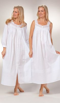 Peignoir Set by Eileen West - White Cotton Gown & Robe in Geneva Cotton Nighties, Cotton Dresses, Night Gown Dress, Nightgown Pattern, Night Dress For Women, Pretty Lingerie, Pyjamas, Pretty Outfits, Dress Patterns