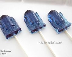 6 ROBOT Party Favors Hard candy Barley Sugar Lollipops Birthday Party Favors