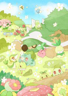 That's cute! All the little Grass Pokemon! - Pokemon