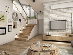 natural interior ~ ground floor, house near Krakow Interior Exterior, Home Interior Design, Small Living Rooms, Living Room Designs, Small Apartment Design, Family House Plans, Brick Design, White Brick Walls, House Stairs