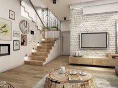 Białe cegły na ścianie telewizyjnej i drewniane schody w salonie (52396)
