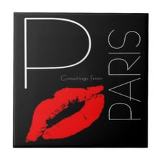 Greetings from Paris Red Lipstick Kiss Black Tile