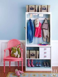 Without a designated entry space, a back or front door can quickly turn into a jumbled pileup of coats, bags, sports gear, and shoes. Remedy the situation with a simple, fit-anywhere bookcase. A slim unit such as this one can fit right inside a door or at the end of an entry hall. Outfitted with a few extras and easy modification, this bookcase becomes an entryway wonder.