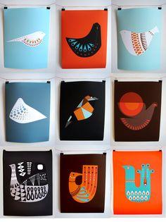 Mid Century bird poster series #design