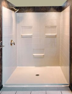 Five Piece Shower With Beveled Threshold And Center Drain Traditional  Showers