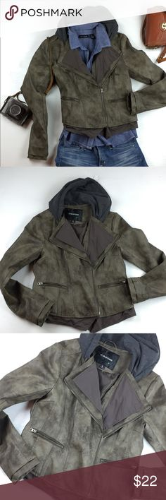 Olive green faux leather Moto jacket size large Great shape, no issues. Cute little faux leather Moto jacket with sweatshirt fleece hood. Semi fitted, exposed zips, great Seam details and off centered zip Maurices Jackets & Coats Utility Jackets