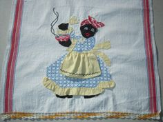 Vintage Black Americana Towel Embroidered & Appliqued Mammy Rings the Dinner Bell