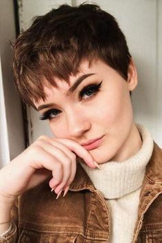 There are many types of pixie cuts you can try and enjoy. As pixie haircuts are very modern, today we have collected Cute Pixie Cuts for Stylish Girls. Short Pixie Haircuts, Hairstyles Haircuts, Short Hair Cuts, Undercut Short Hair, Girls Pixie Haircut, Pixie Bangs, Pixie Haircut For Round Faces, Pixie Cut With Bangs, Latest Hairstyles