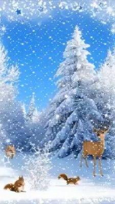 Winter Christmas Scenes, Christmas Scenery, Christmas Trees For Kids, Christmas Animals, Christmas Music, Christmas Images, Vintage Christmas, Merry Christmas Animation, Animated Christmas Tree