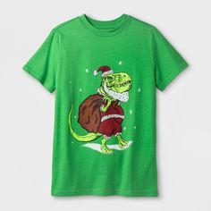 Boys' Holiday Dino Graphic Short Sleeve T-Shirt - Cat & Jack Green