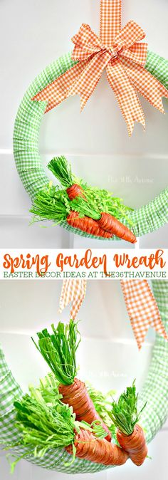 This adorable DIY Spring Garden Wreath via The Avenue will make your Easter Decor fun and festive! Diy Spring Wreath, Diy Wreath, Spring Crafts, Wreath Ideas, Holiday Crafts, Holiday Decor, Easter Crafts, Easter Decor, Easter Table