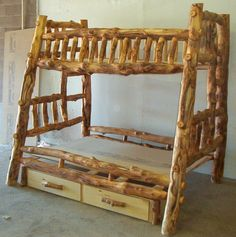 log beds | Premeir Aspen Bunk Bed, Twin/Full with underdressers and built in ...
