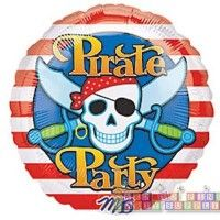 Pirate Party Foil Mylar Balloon  http://hardtofindpartysupplies.com/Pirates-of-the-Caribbean-childrens-birthday-party-supplies/JAke-and-The-Neverland-Pirates-Foil-Mylar-Balloon-Helium-Round-Decorations