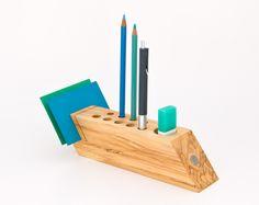 Desk Organizer Office Accessory Wood Pen Pencil Holder Desktop Organizer FELICIA. via Etsy.