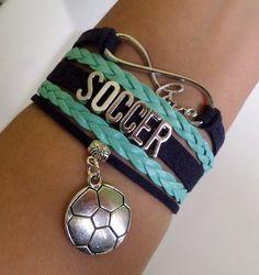 Soccer bracelet soccer bracelet Infinity love by SummerWishes
