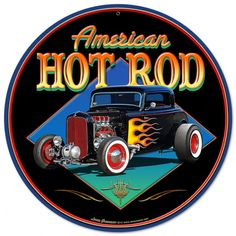 American Hot Rod sold by VintroSigns. Shop more products from VintroSigns on Storenvy, the home of independent small businesses all over the world. Pinstriping, Hot Rods, Car Drawing Pencil, Chevy, Blue Bird Art, Motorcycle Paint Jobs, Royce Car, Vintage Metal Signs, Best Muscle Cars