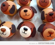 Puppy Cupcakes, use Jelly Belly jelly beans for their noses! Via: cutestfood.com