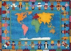 Hands Around the World Classroom Rug 10'9 x 13'2