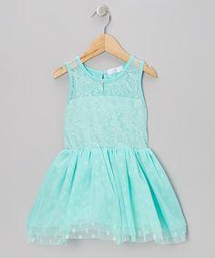 Turquoise Lace Polka Dot Tulle Dress - Infant, Toddler & Girls
