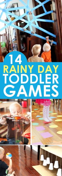 "14 indoor toddler games that are perfect for rainy days, cold days, hot days, or just plain ""I need a break"" days! With these fabulous toddler fun ideas available, you'll be ready to entertain your toddler no matter why you need to stay indoors! Toddler Play, Toddler Learning, Baby Play, Toddler Crafts, Toddler Games, Children Games, Fun Games For Toddlers, Toddler School, Montessori Toddler"
